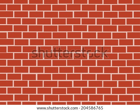Red brick wall seamless Vector illustration background - stock vector