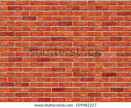 Red Brick Wall Seamless Vector Illustration Background