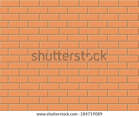 Red brick wall seamless Vector illustration background - texture pattern for continuous replicate - stock vector