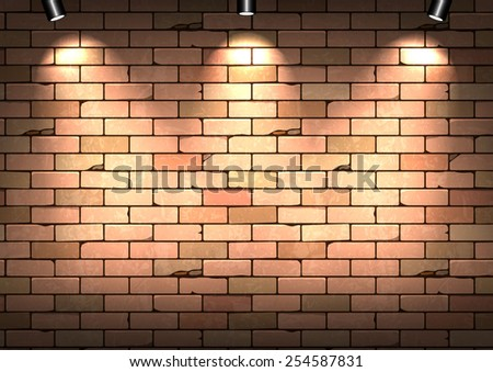Red brick wall with illumination. Vector illustration - stock vector