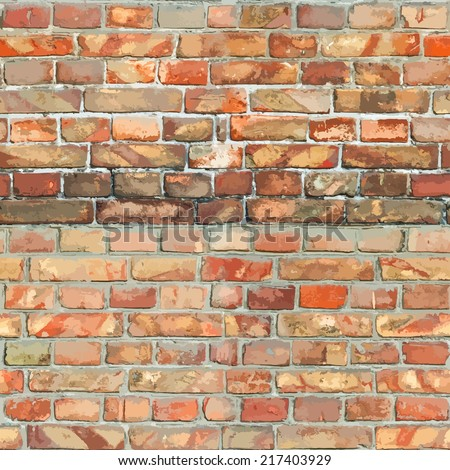 Red Brickwall Seamless Background for your design. EPS10 vector. - stock vector