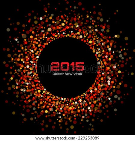 Red Bright New Year 2015 Background, vector illustration - stock vector