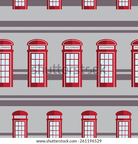 Red britain telephone box  seamless pattern  - stock vector