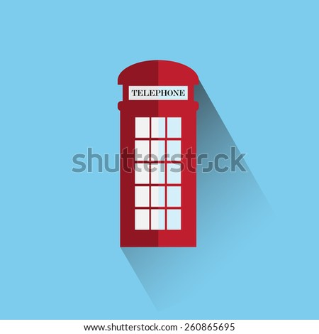 Red britain telephone box vector icon - stock vector