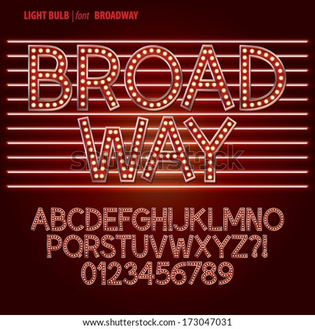 Red Broadway Light Bulb Alphabet and Digit Vector - stock vector