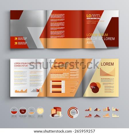 Red Brochure Template Design Diagonal Shapes Stock Vector 265959257