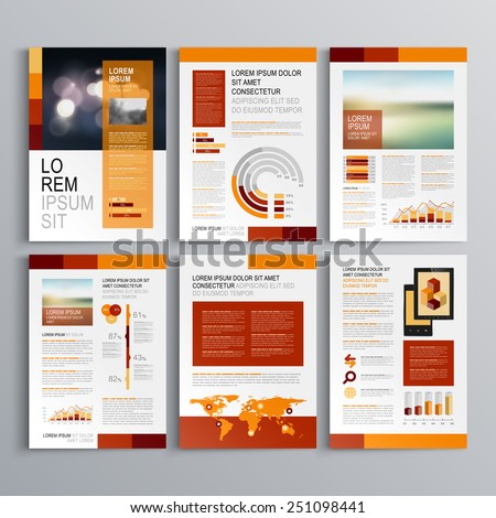 Red brochure template design with orange vertical shapes. Cover layout and infographics - stock vector