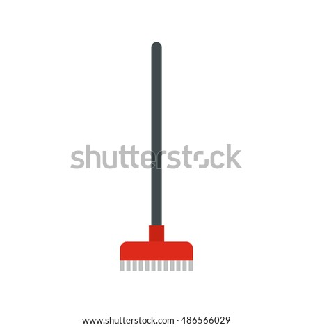 Red broom icon in flat style isolated on white background. Cleaning symbol vector illustration