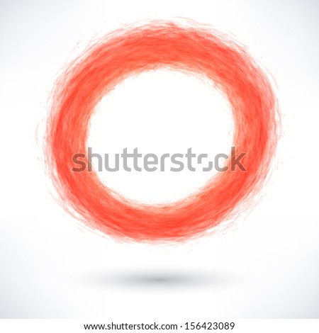 Red brush stroke in the form of a circle with gray shadow. Abstract ring shape. Drawing created in ink sketch handmade technique. Vector illustration graphics design element 10 eps
