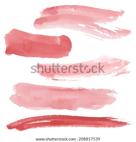 Red brush strokes set on white background. Watercolor. Sketch. vector
