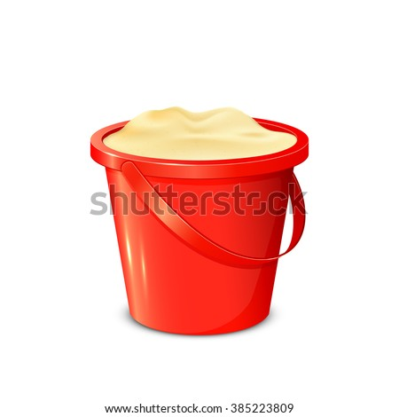 Red bucket with sand isolated on white background, illustration. - stock vector