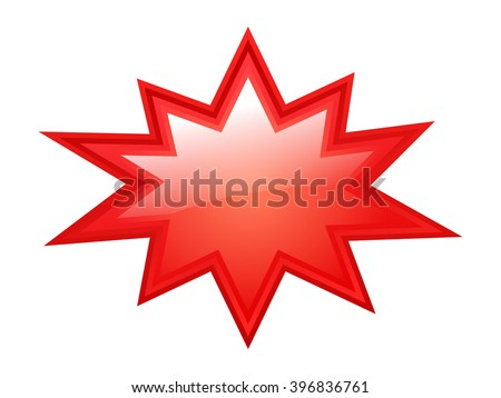 Red bursting vector star illustration isolated on white background - stock vector