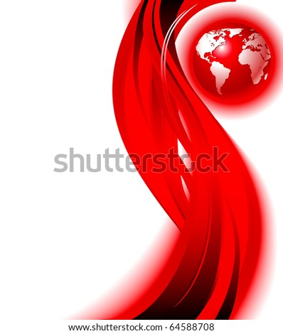 Red business world map wave background. Vector design illustration. Eps10 - stock vector