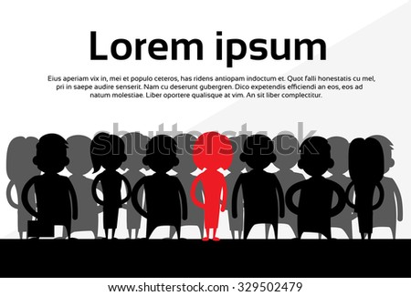 Red Businesswoman Silhouette, Black Business People Cartoon Group Team Concept Vector Illustration - stock vector
