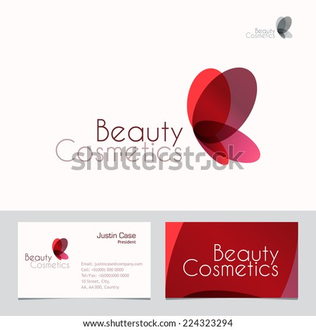 Red butterfly vector sign business card stock vector 224323294 red butterfly vector sign business card template vector icon for beauty industry beauty colourmoves