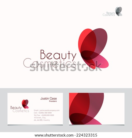 Red Butterfly vector sign & Business Card template. Vector icon for beauty industry, salon, spa, cosmetics package labeling, boutique. Corporate identity template. Femininity, beauty, freedom concept - stock vector