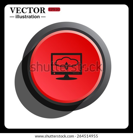 Red button start, stop. cloud storage on the computer, vector illustration, EPS 10 - stock vector