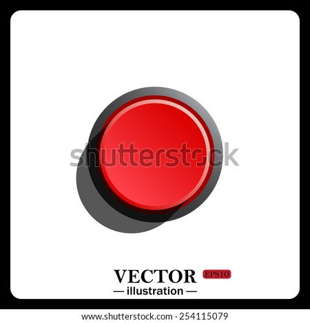 Red button start, stop.. icon. vector design - stock vector