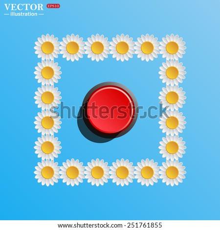 Red button start, stop. Vector illustration, EPS 10 - stock vector