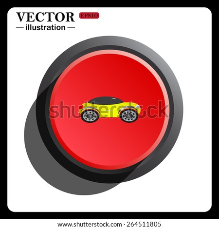 Red button start, stop. yellow car, icon, vector illustration. Flat design style