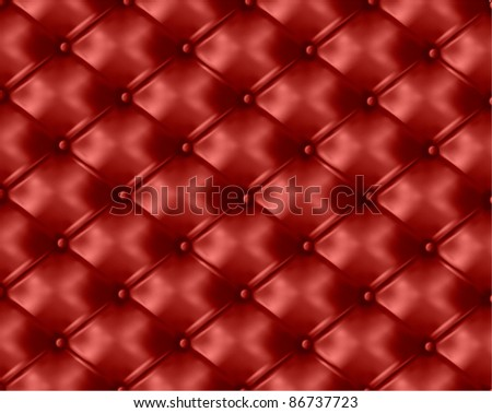 Red button-tufted leather background. Vector illustration. - stock vector