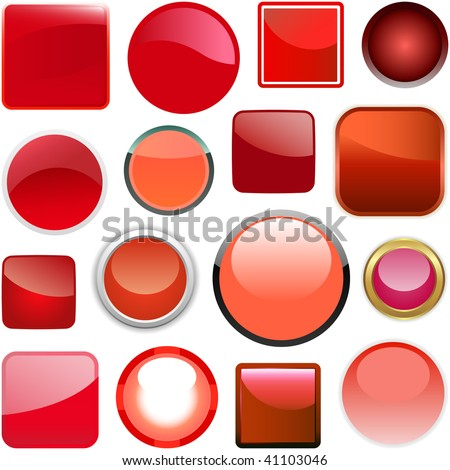 Red buttons for design. Vector set. - stock vector