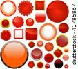 Red buttons for web. Vector set. - stock vector