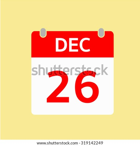 Red Calendar icon - Dec 26
