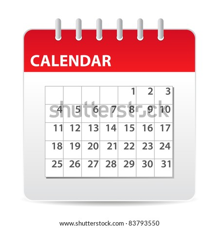 red calendar icon with days of month - stock vector
