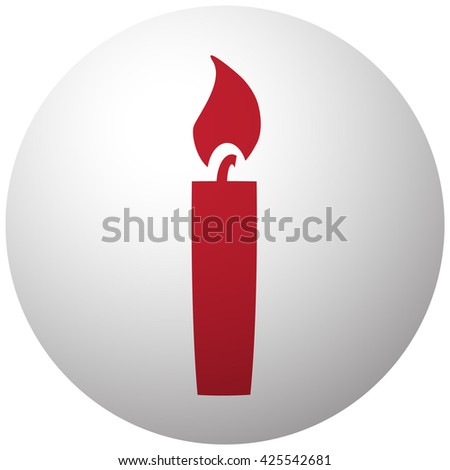 Red Candle Light icon on white ball