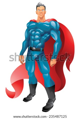 Red cape superhero isolated - stock vector