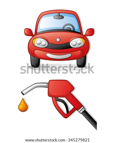 Red car front view icon and a red fuel pump nozzle. - stock vector