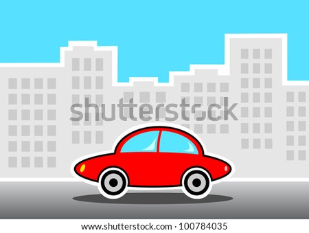 Red car in city - stock vector