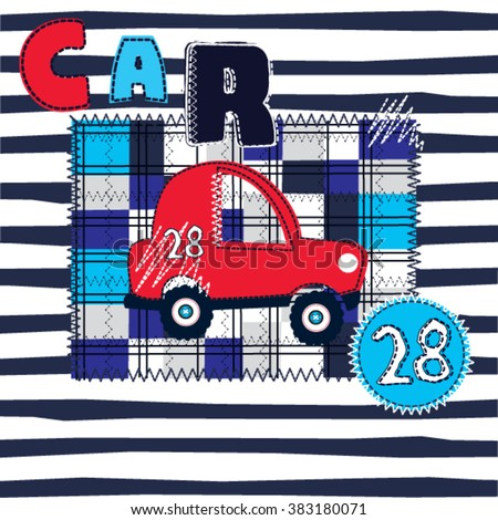 red car on checkered and striped background, T-shirt design for boys vector illustration - stock vector