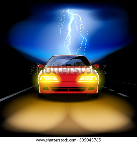 Red car racing on the road at night with a lightning on the background. Vector illustration - stock vector