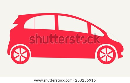 Red car silhouette icon isolated on white background. Vector illustration. - stock vector