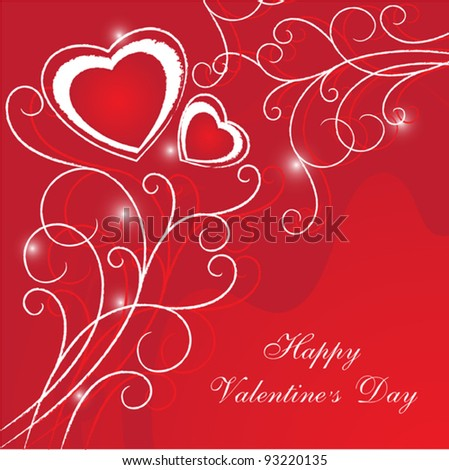 Red card for festive day valentine, vector