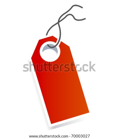 Red card price tag on white background