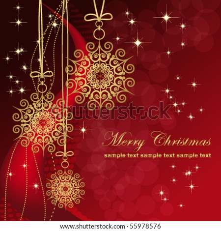 Red card with christmas snowflakes, vector illustration - stock vector