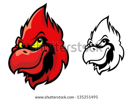 Red cardinal bird head in cartoon style for sports mascot design. Jpeg version also available in gallery - stock vector