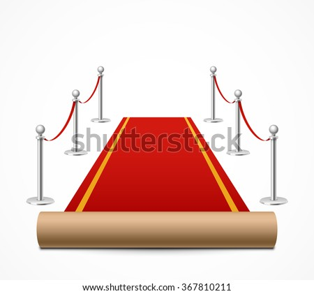 Red carpet and barrier rope - stock vector