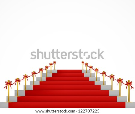 Red carpet and stairs for VIP persons. Vector - stock vector