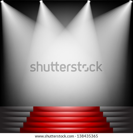 Red carpet and stairs with spotlight - stock vector