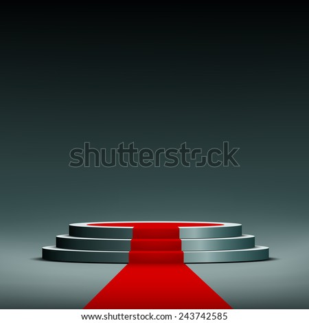 red carpet on pedestal - stock vector