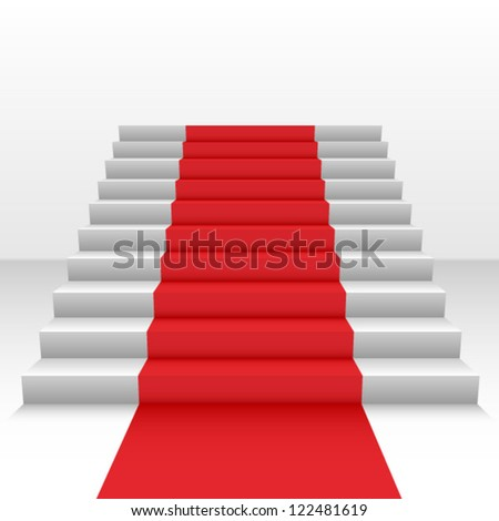 Red carpet on stairs - stock vector