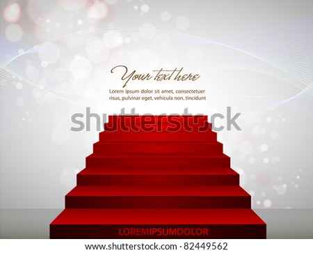 Red carpet on stairs pointing to your text. - stock vector