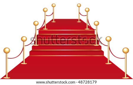 Red carpet on stairs. Vector illustration. - stock vector