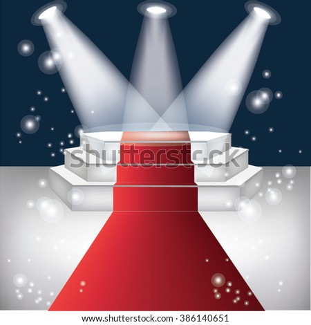 red carpet with dark background  - stock vector