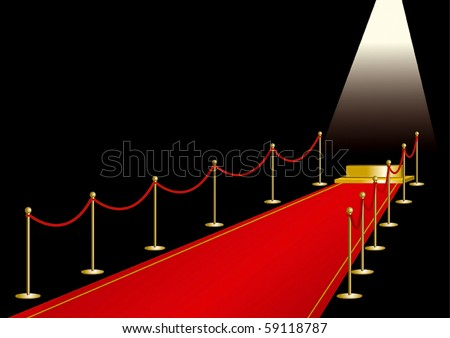 Red carpet with gold stage - stock vector