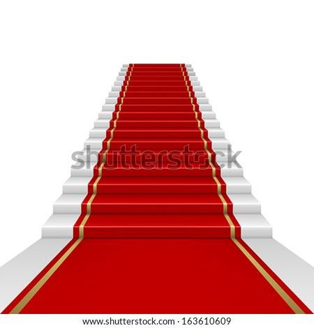 Red carpet with ladder. Clipping Mask. Mesh. - stock vector
